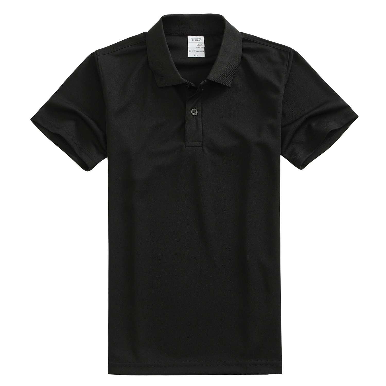 速干翻领黑色t恤衫