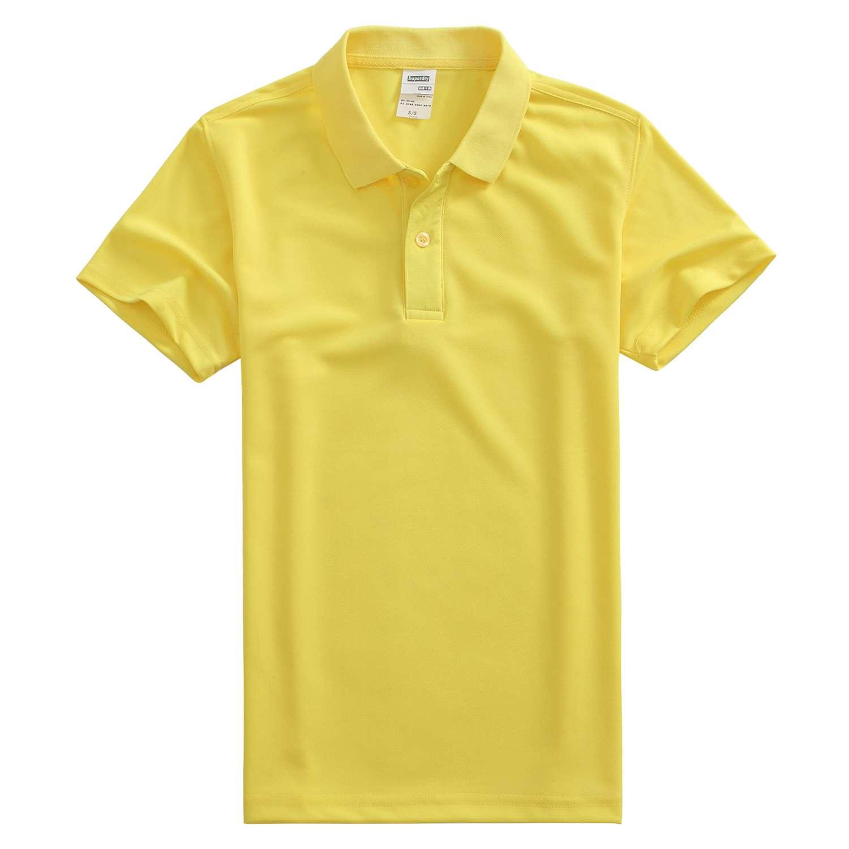 速干翻领荧光黄色t恤衫