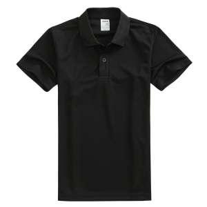 速干面料T-01 户外运动系列1510#翻领黑色t恤衫 简约制作大气得体