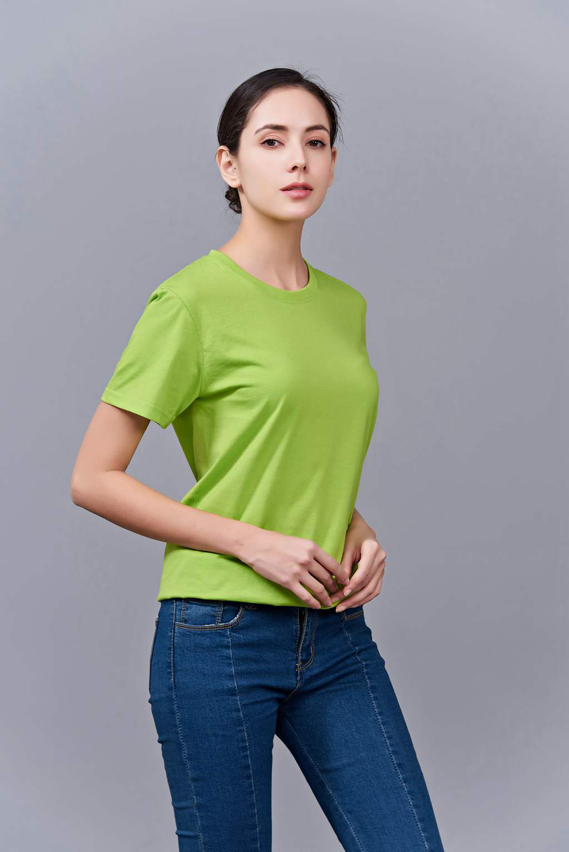 毕业创意校服班服文化衫定制加工LOGO绣秀印花款 澳大利亚棉200G长短袖文化衫 女款果绿色