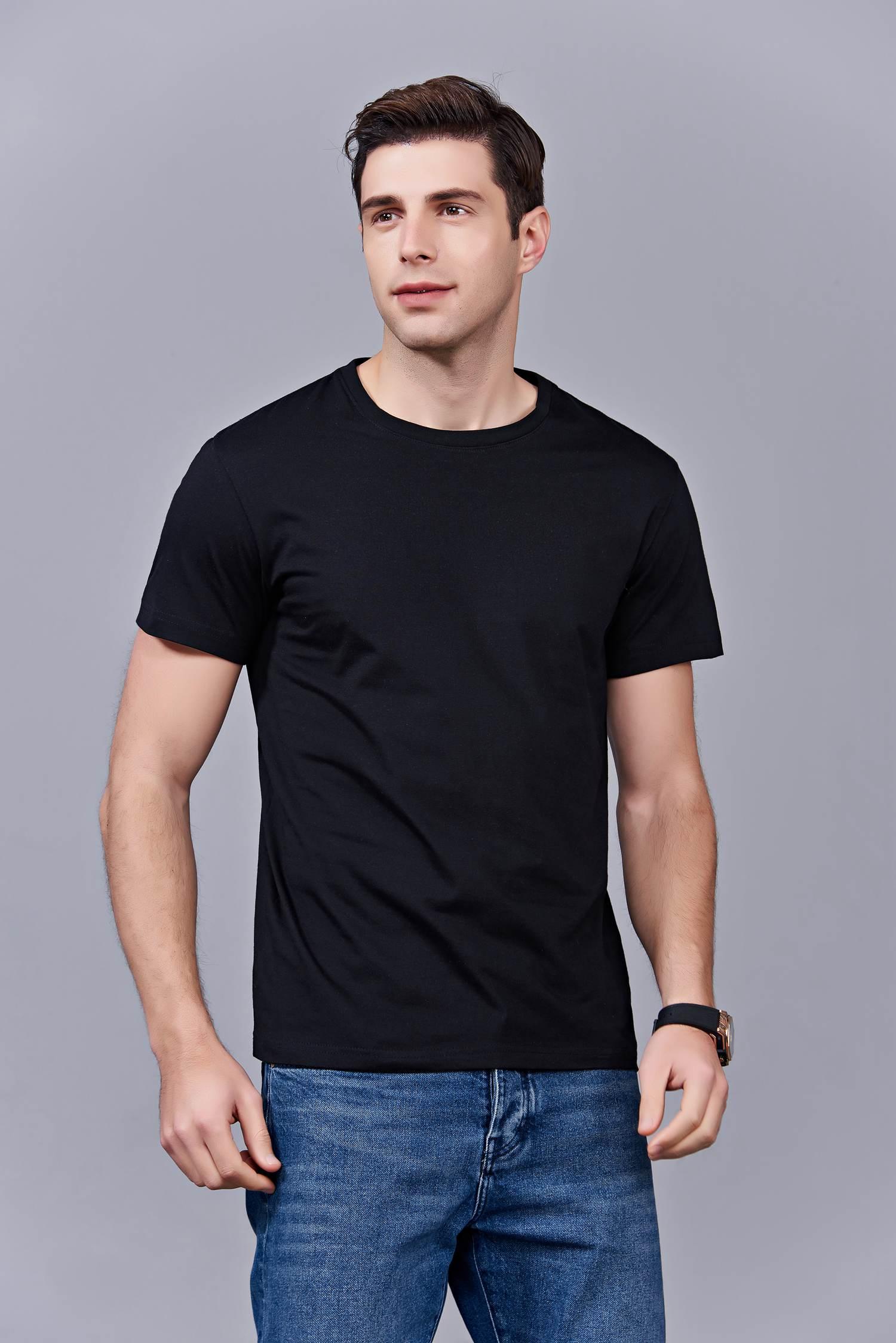 年会活动圆领高档长袖套头T恤定制同学聚会工作服定做T-19# 黑色