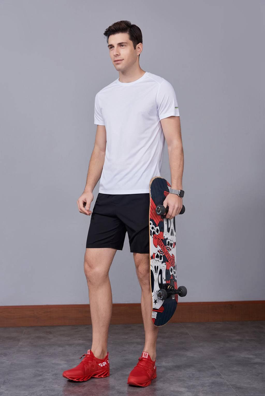 超弹力纯色上衣 夏季男装T恤文化衫 白色【圆领】