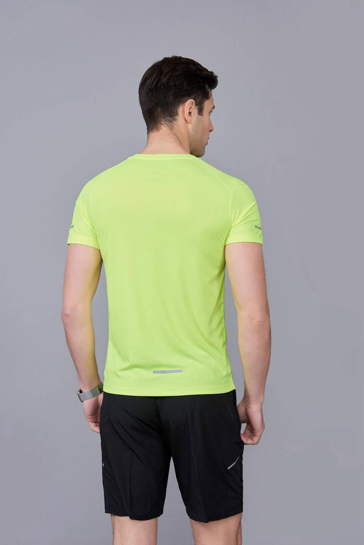 超弹力纯色上衣 夏季男装T恤文化衫 果绿【圆领】