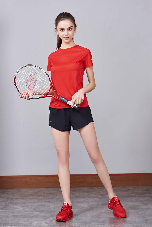 超弹力纯色上衣 夏季男女装T恤文化衫红色 【圆领】