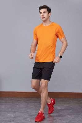 修身运动短袖 舒适透气跑步训练速干T恤-橘色