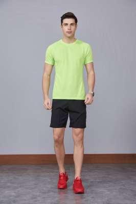 修身运动短袖 舒适透气跑步训练速干T恤-果绿色