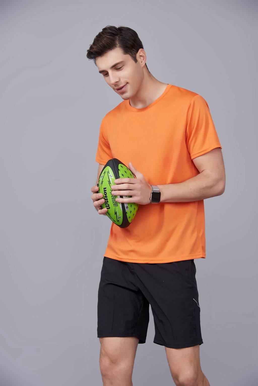 速干T恤 轻薄透气男女情侣款圆领短袖速干T恤 橘色