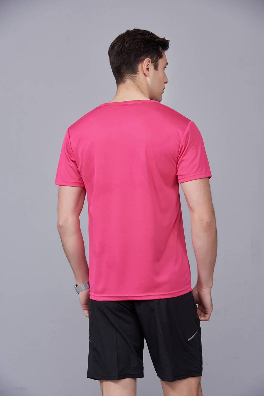 速干T恤 轻薄透气男女情侣款圆领短袖速干T恤 玫红色