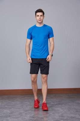 修身运动短袖 舒适透气跑步训练速干T恤-宝蓝色