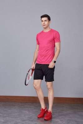 修身运动短袖 舒适透气跑步训练速干T恤-玫红色