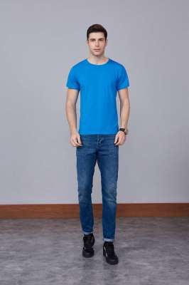 速干T恤 轻薄透气男女情侣款圆领短袖速干T恤 湖蓝色