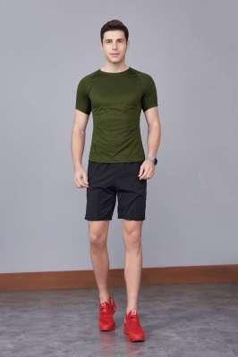 修身运动短袖 舒适透气跑步训练速干T恤-军红色