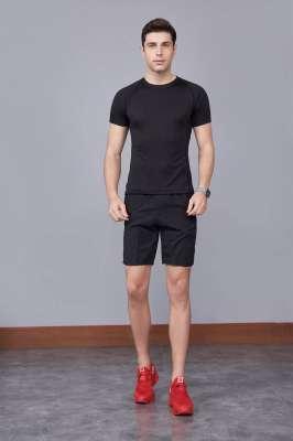 修身运动短袖 舒适透气跑步训练速干T恤-黑色