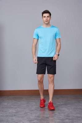 速干T恤 轻薄透气男女情侣款圆领短袖速干T恤 天蓝色