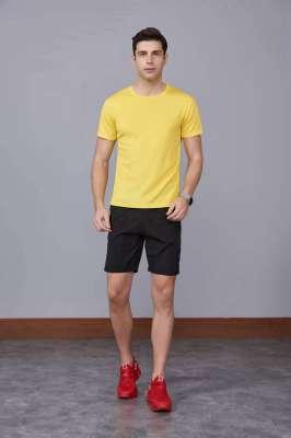 速干T恤 轻薄透气男女情侣款圆领短袖速干T恤 黄色
