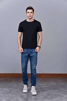 速干T恤 轻薄透气男女情侣款圆领短袖速干T恤 黑色