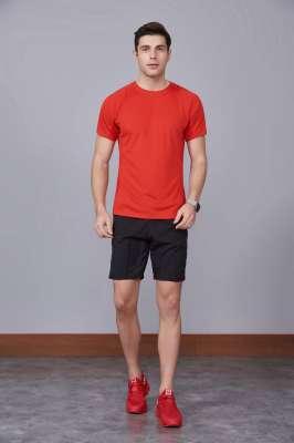 修身运动短袖 舒适透气跑步训练速干T恤-大红色