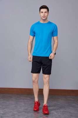 修身运动短袖 舒适透气跑步训练速干T恤-湖蓝色