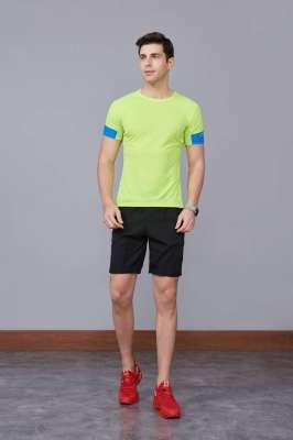 男装新款情侣装纯色T恤 男上衣潮纯棉圆领 短袖T恤 绿色