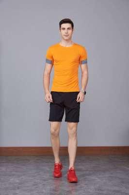 男装新款情侣装纯色T恤 男上衣潮纯棉圆领 短袖T恤 橘色