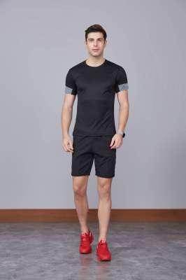 男装新款情侣装纯色T恤 男上衣潮纯棉圆领 短袖T恤 黑色