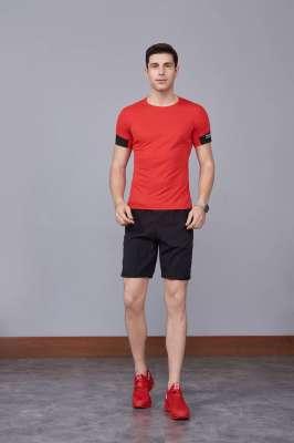 男装新款情侣装纯色T恤 男上衣潮纯棉圆领 短袖T恤 红色