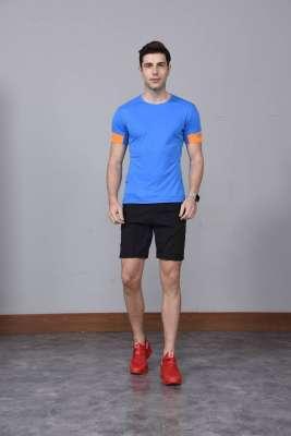 男装新款情侣装纯色T恤 男上衣潮纯棉圆领 短袖T恤 湖蓝色