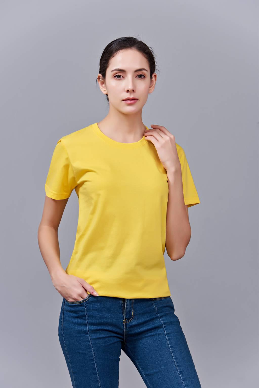 洋气百搭亲子装 半袖显瘦 速干圆领文化衫 春夏新品 黄色