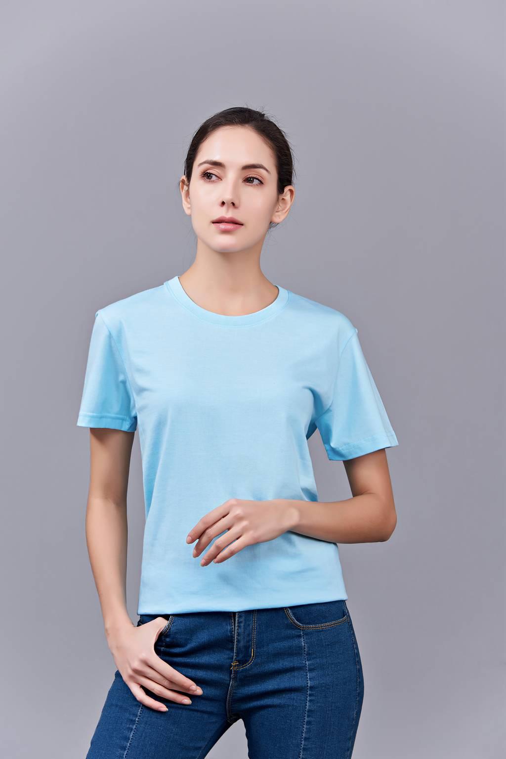 洋气百搭亲子装 半袖显瘦 速干圆领文化衫 春夏新品 天蓝色