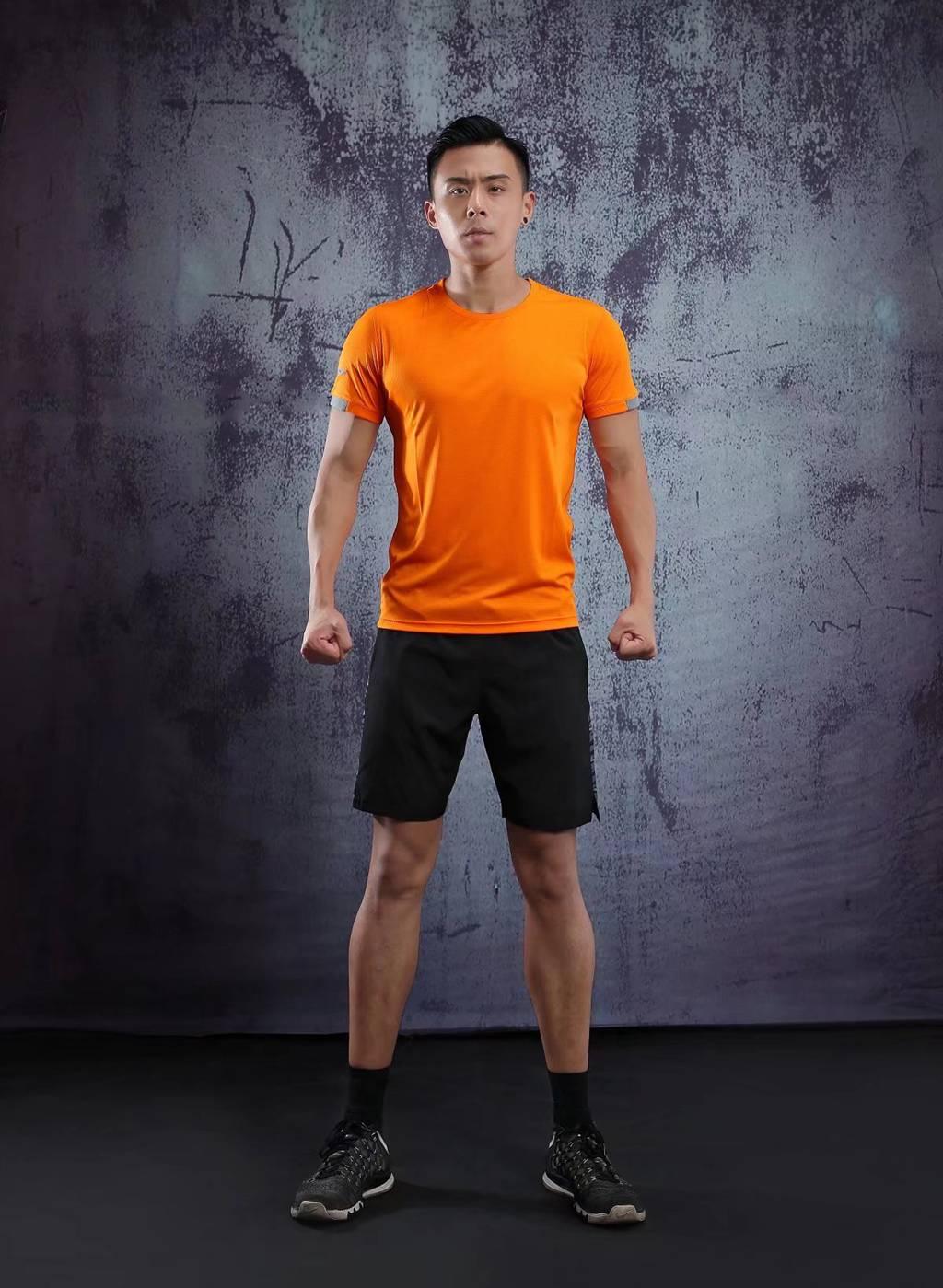 春夏新品 圆领短袖T恤 时尚运动文化衫 荧光橙