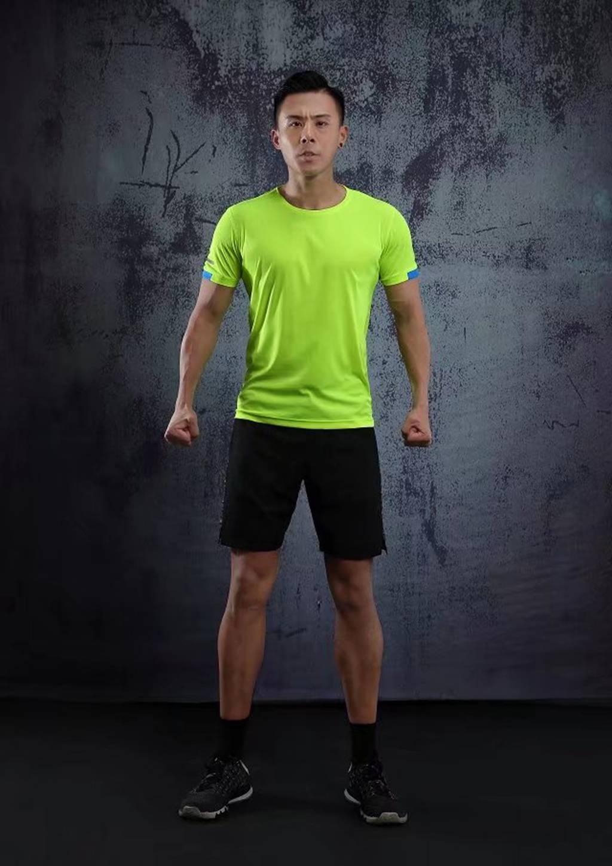 春夏新品 圆领短袖T恤 时尚运动文化衫 荧光绿