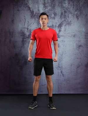 春夏新品 圆领短袖T恤 时尚运动文化衫 大红色