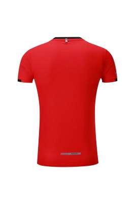 春夏新品 圆领短袖T恤 时尚运动文化衫 大红色 3D效果图