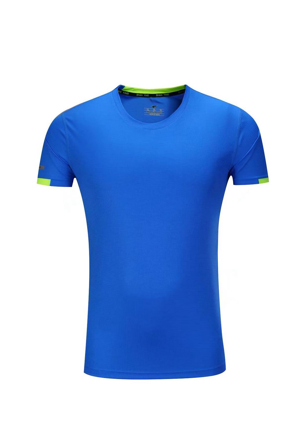 春夏新品 圆领短袖T恤 时尚运动文化衫 湖蓝色 3D效果图