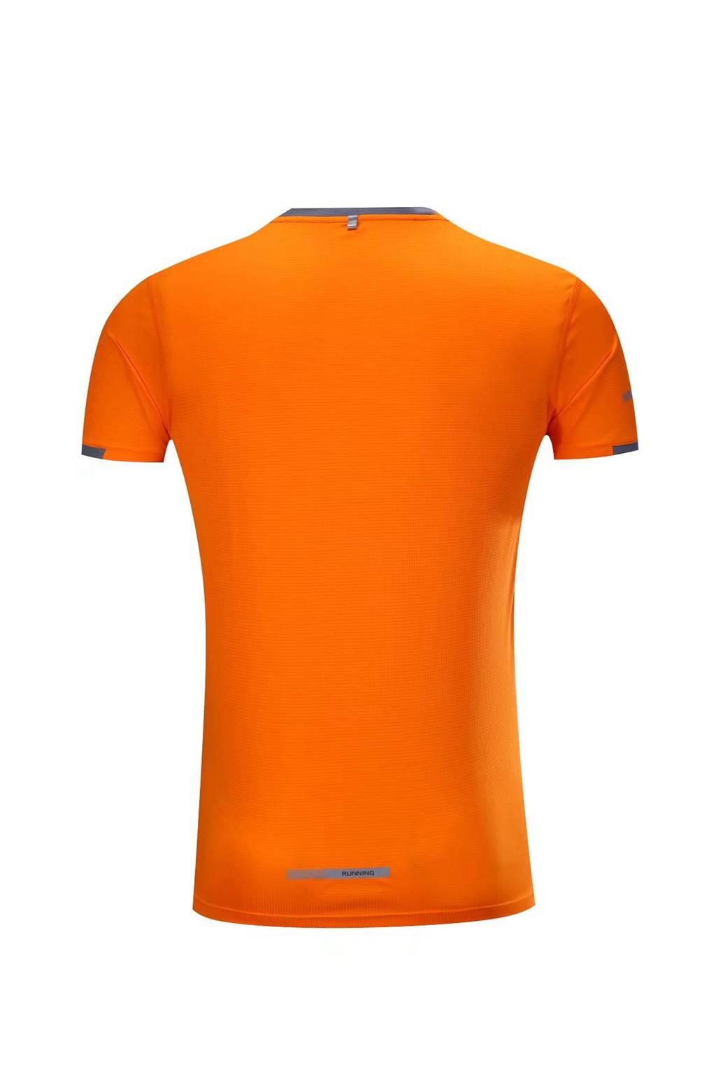 春夏新品 圆领短袖T恤 时尚运动文化衫 荧光橙 3D效果图