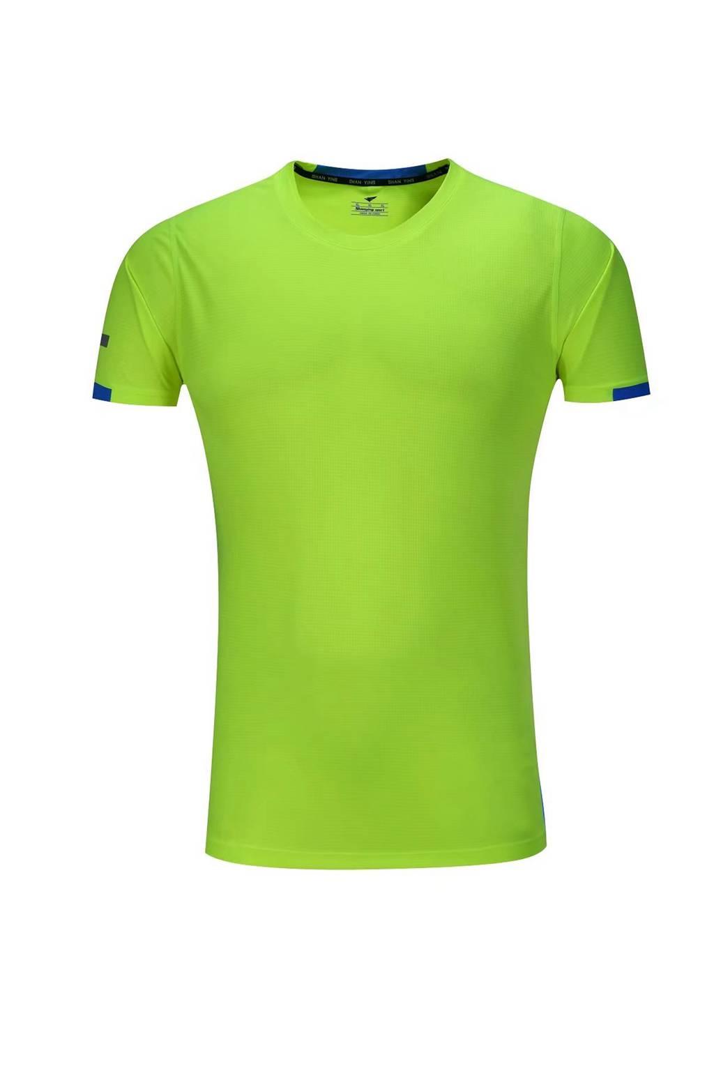 春夏新品 圆领短袖T恤 时尚运动文化衫 荧光绿 3D效果图