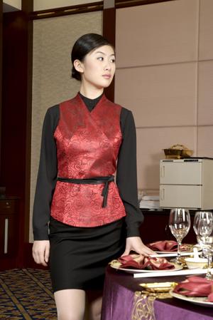 工服定制 高端酒店工服女士春夏季  红色长袖酒店工服