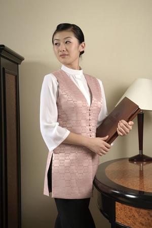 工服定制 高端酒店工服女士 粉色长袖酒店工服