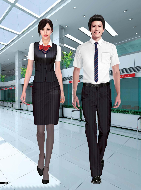 工服定制 高端物业工服男女士 白色短袖物业工服