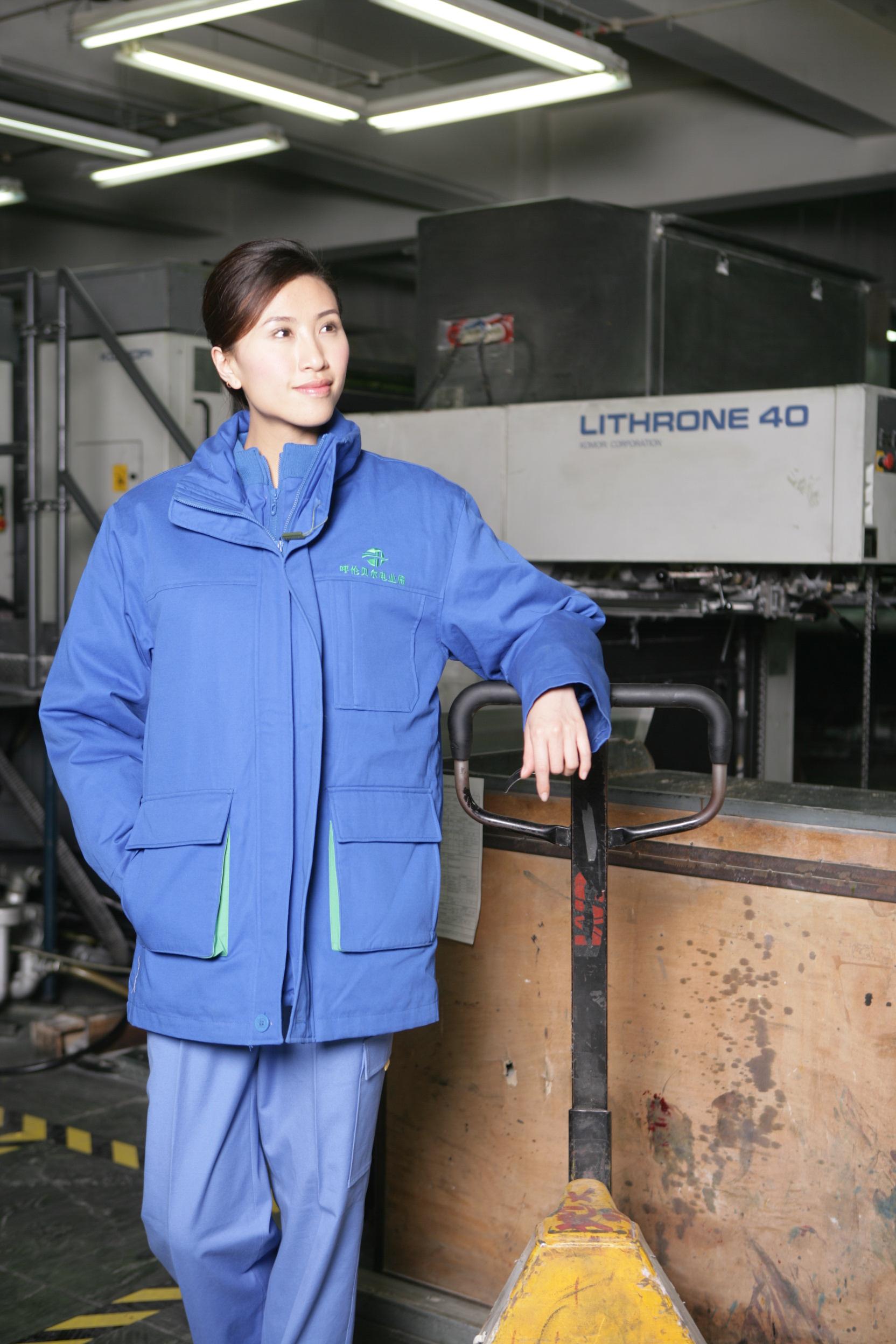 工服定制 耐磨工作服棉服女士 蓝色工作服棉服