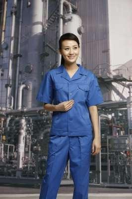 工服定制 耐磨工作服夏装女士 蓝色工