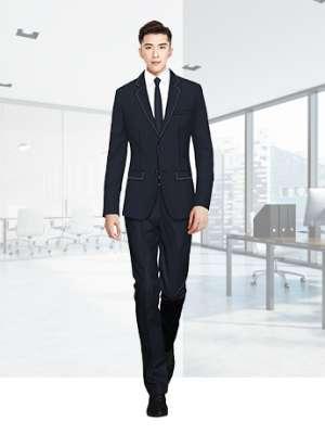 男士商务西服套装黑色春秋季职业正装