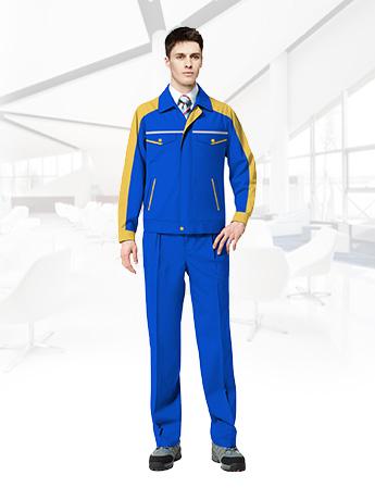 天蓝色工作服男士春秋全棉耐磨工作服套装