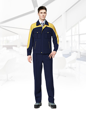 纯棉长袖工作服套装男春秋反光条工作服