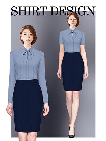 衬衫定制 时尚衬衫女士春季 墨蓝色长袖时尚衬衫