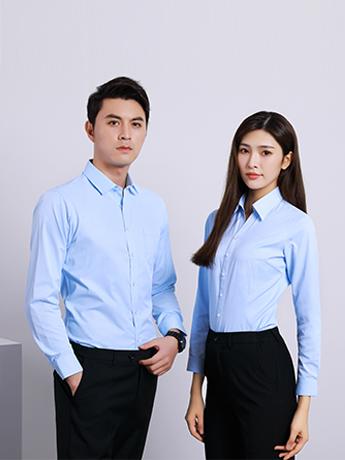 商务衬衫定制 时尚衬衫男女士春秋季 浅蓝色时尚衬衫