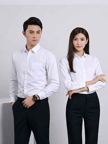 商务衬衫定制 时尚衬衫男女士春秋季 白色长袖衬衫