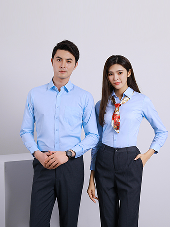 商务衬衫定制 时尚衬衫男女士春秋季 蓝色时尚衬衫