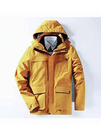 冲锋衣定制 高端冲锋衣男士冬季 姜黄色冲锋衣