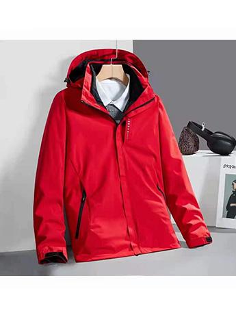 冲锋衣定制 高端冲锋衣男女士秋冬季 中国红色防水冲锋衣